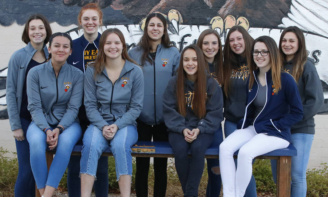 Boulder City High School Members of Boulder City High School's girls basketball team, front row, from left, Kailee Fisher, Jerra Hinson, Keely Alexander, Hannah Estes; back row, from left,  Natali ...