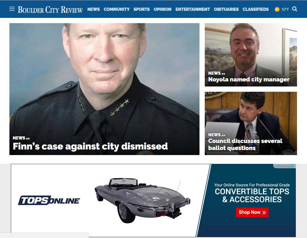 Boulder City Review A new website for the Boulder City Review launches today, Feb. 1. The cleaner, streamlined site puts a greater emphasis on news and visuals.
