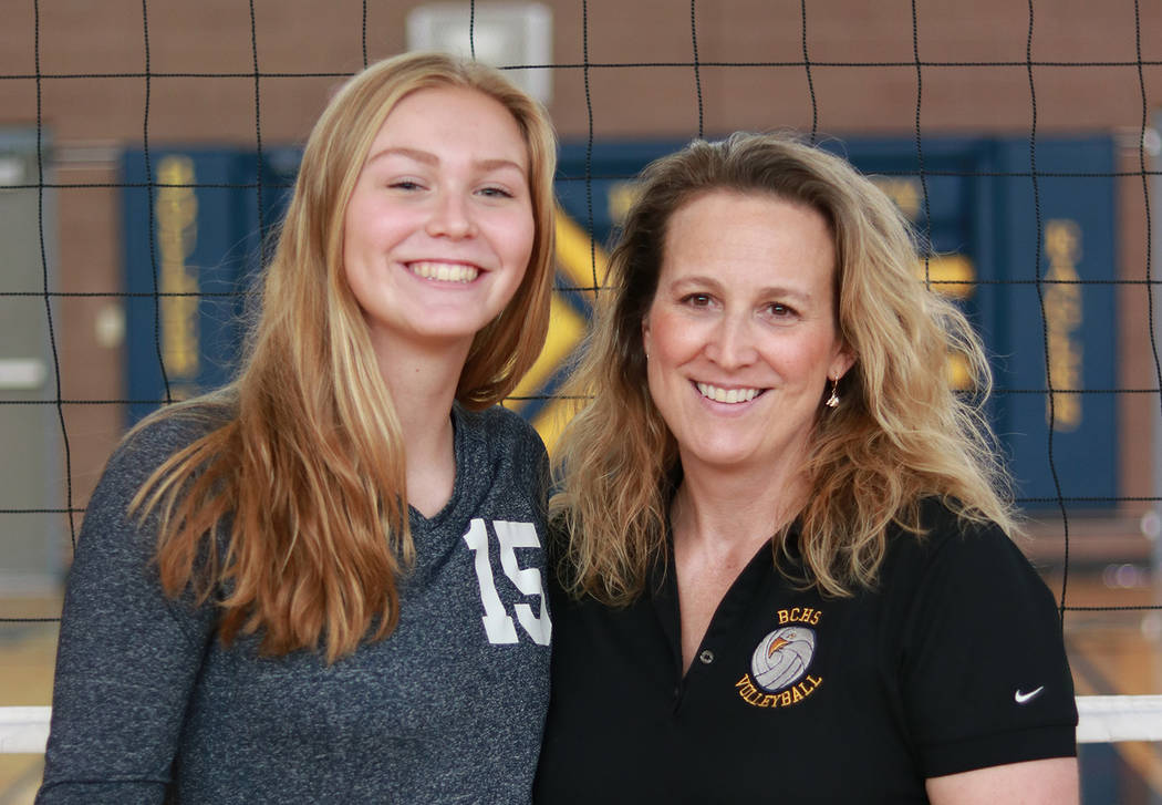Cherise Hinman Boulder City High School girls volleyball coach Cherise Hinman, right, seen with her daughter and star player Maggie Roe, has decided to retire after 20 seasons.