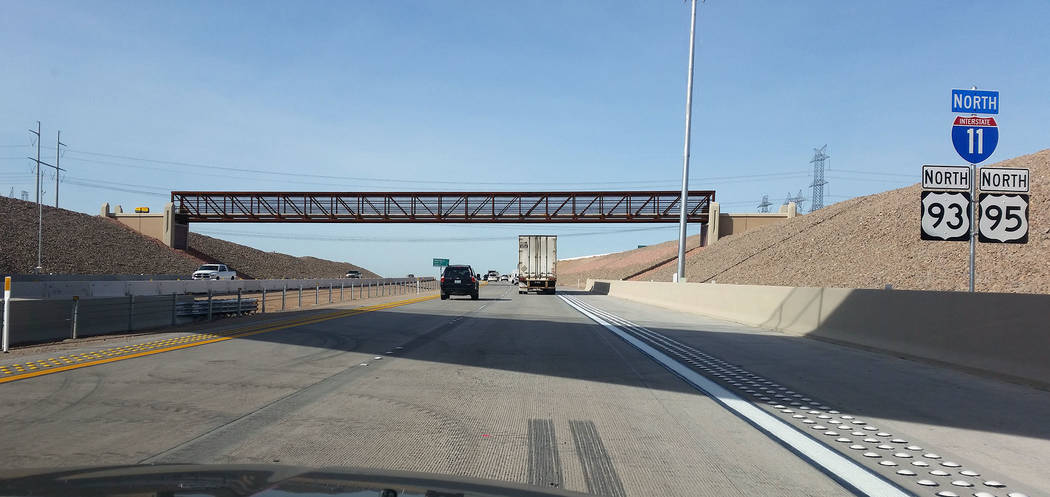 Celia Shortt Goodyear/Boulder City Review Two miles of northbound lanes of the new Interstate 11 are now open in Boulder City.