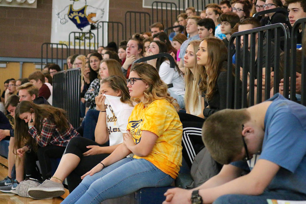 Laura Hubel/Boulder City Review Listening to stories about the dangers of drinking and driving and how it has affected people's lives as part of the Every 15 Minutes program on Friday was an emoti ...
