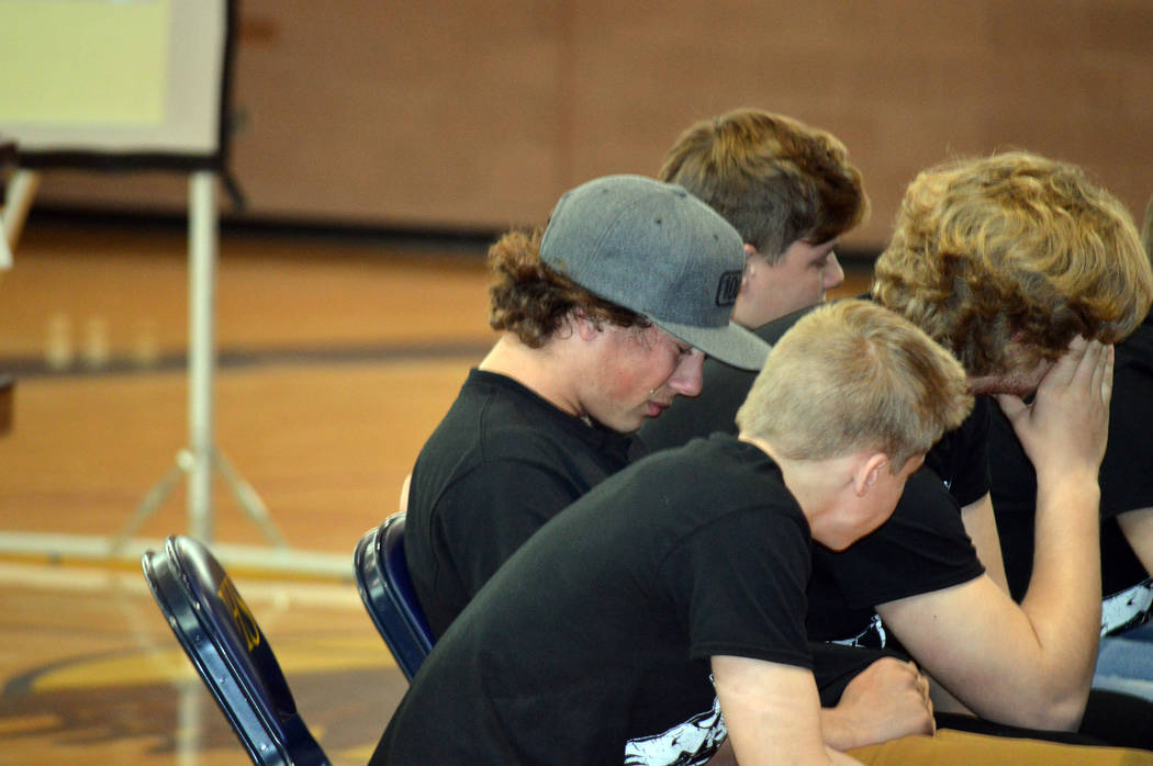 """Celia Shortt Goodyear/Boulder City Review Boulder City High School student Shaun Jones, in gray hat, gets emotional as hears his mom read the letter she wrote to him after his """"death"""" during the s ..."""