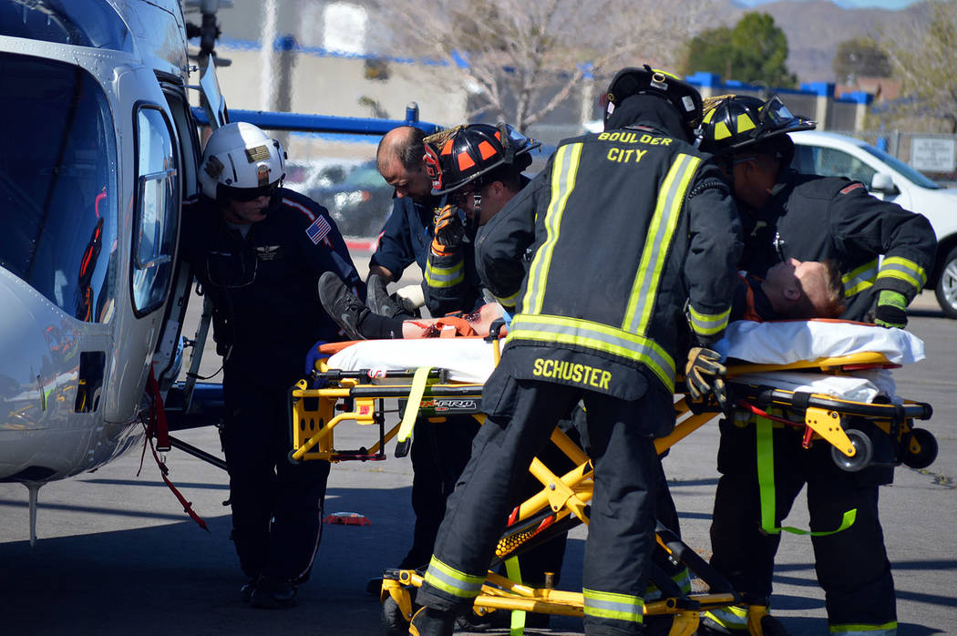 Celia Shortt Goodyear/Boulder City Review Boulder City High School student Kenon Cowley is transported by Mercy Air as part of the school's Every 15 Minutes presentation on Thursday, March 9.