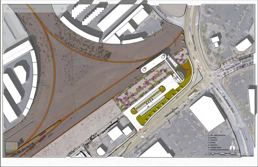 Courtesy This rendering shows the location of the new depot and visitor center, along with the linear park that the Nevada State Railroad Museum plans to build at the northwest corner of Nevada Hi ...