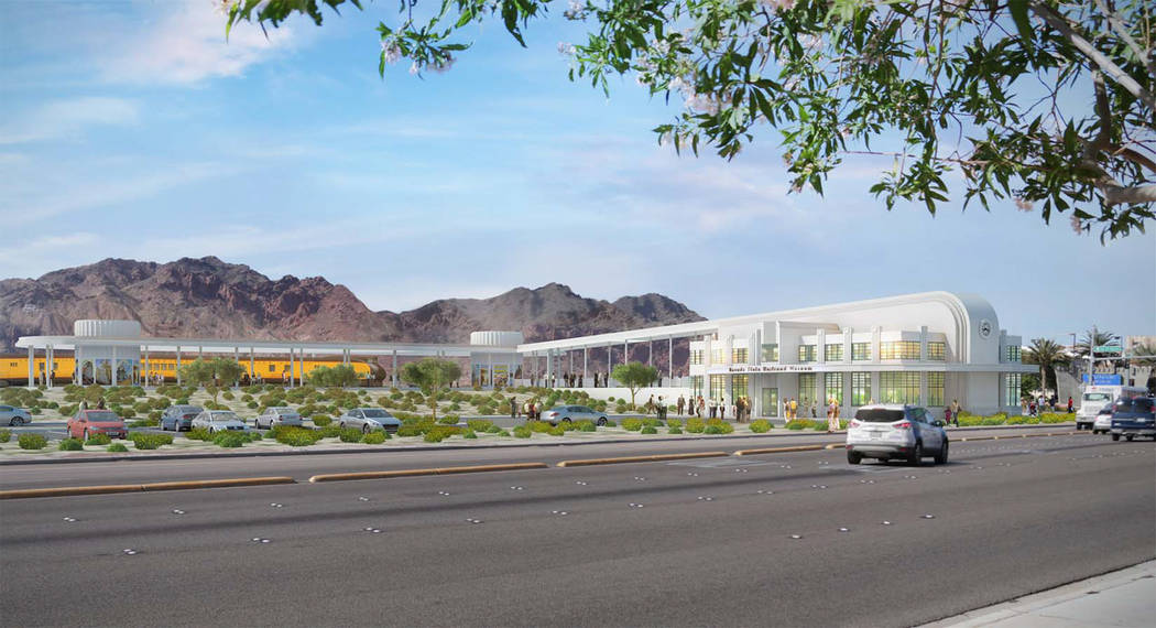Courtesy This rendering shows the new train depot and visitor center the Nevada State Railway Museum plans to build at the northwest corner of Nevada Highway (Boulder City Parkway) and Buchanan Bo ...