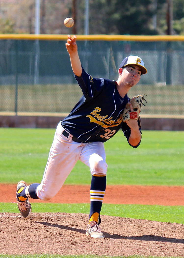Laura Hubel/Boulder City Review Senior transfer from Foothill High School, Noah Higgins, took the mound in the last game against Bonanza High School over the weekend's three-day tournament. The  ...