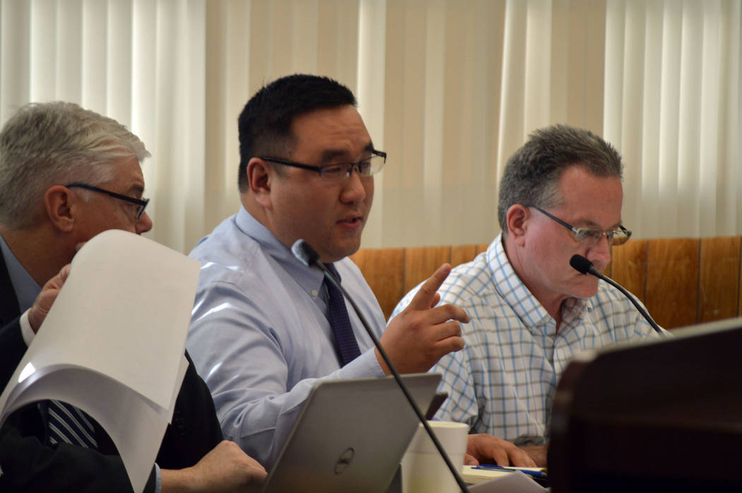 Celia Shortt Goodyear/Boulder City Review Finance Director Hyun Kim presents the tentative budget for the 2017-2018 fiscal year at a workshop Tuesday.