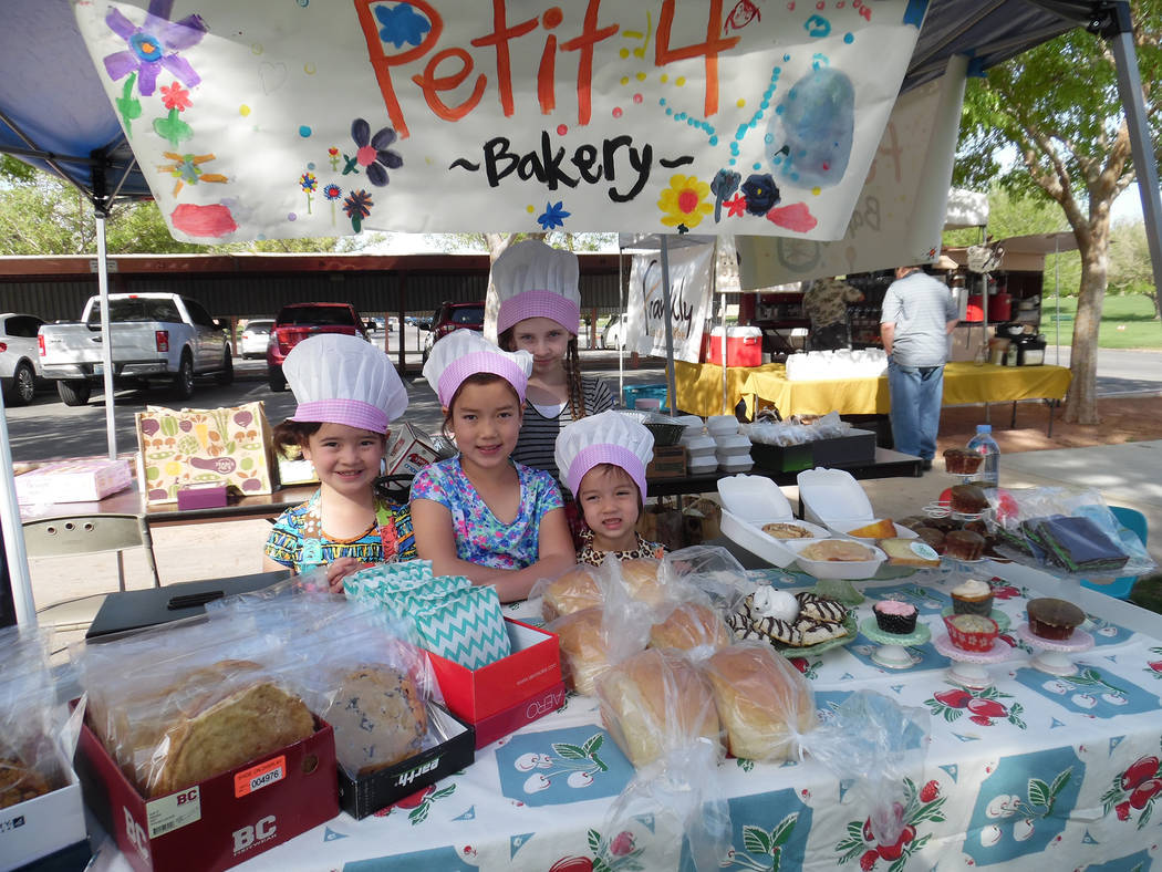 Hali Bernstein Saylor/Boulder City Review Homeschooled youngsters, from left, Emma Kim, 6; Addyson Kim, 9; Macie Wasden, 9; and Isilee Kim, 3, learned about math and science baking a variety of tr ...
