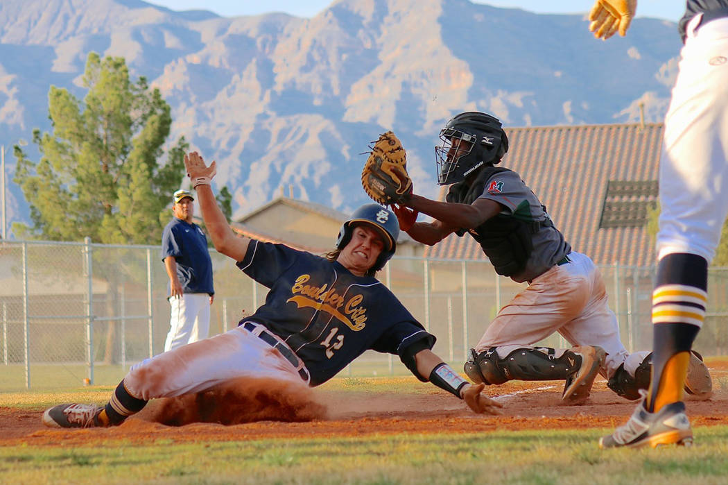 Laura Hubel/Boulder City Review Boulder City High School senior Aaron Kehoe, the first baseman who leads the team in the number of hit by pitches again this season, took two in the game against Mo ...