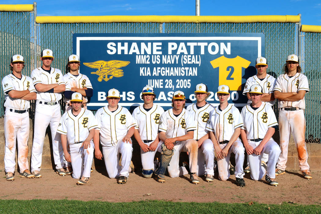 Laura Hubel/Boulder City Review The No. 2 jersey of Shane Patton, a 2000 graduate of Boulder City High School who played on the varsity baseball team for two seasons, was retired in the left outfi ...