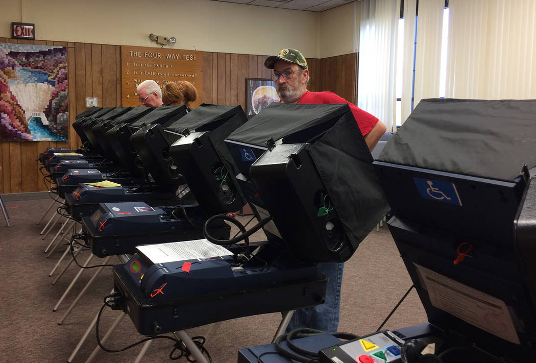 Hali Bernstein Saylor/Boulder City Review Residents came to the polls Wednesday morning at City Hall as early voting started for the election to select two City Council members. Early voting conti ...