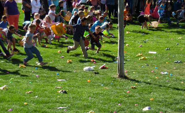 File Children make a mad dash for prize-filled eggs and other treats during the last year's Easter egg hunt in Wilbur Square Park. This year's event will be held April 8, 2017, and is being sponso ...
