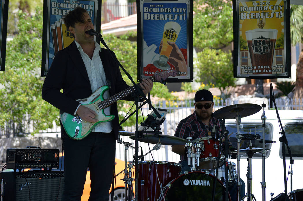 Celia Shortt Goodyear/Boulder City Review Dave Tucker, left, and Justin Truitt of Dave Tucker and His Imaginary Band perform at the 2017 Boulder City Beerfest on Saturday at Wilbur Square Park in  ...