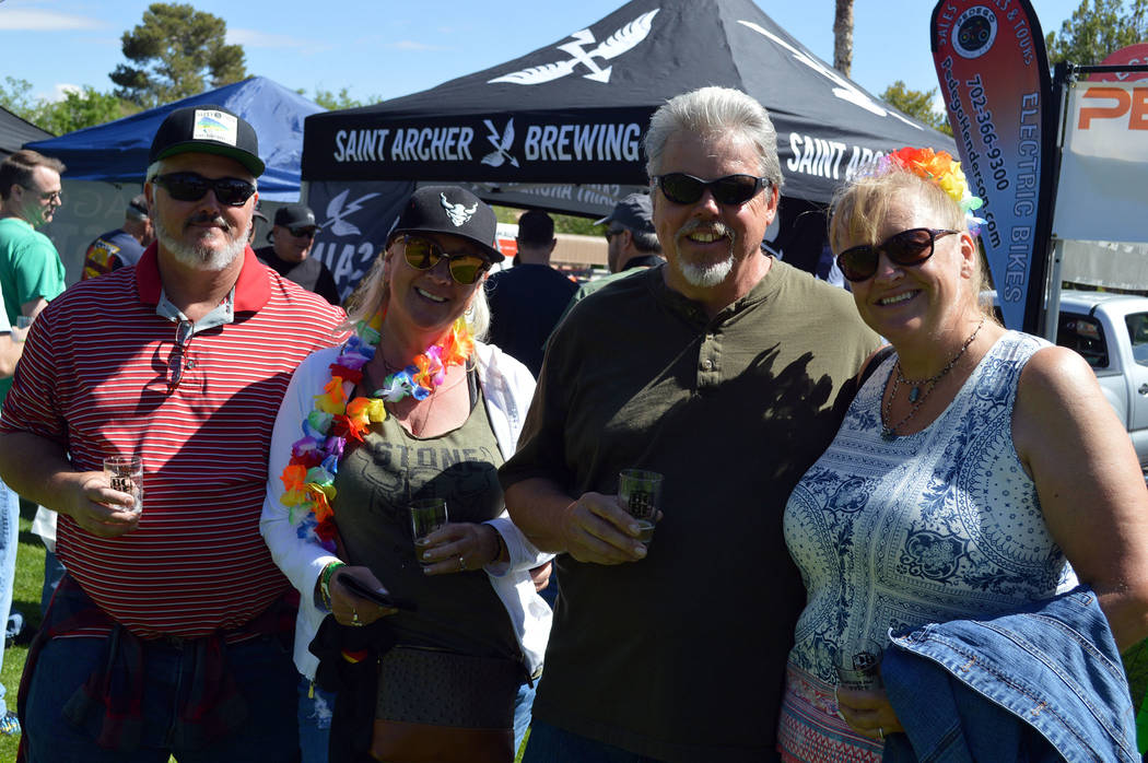 Celia Shortt Goodyear/Boulder City Review Wade Ross, left, enjoys the 2017 Boulder City Beerfest with family and friends, from left, Jolie Ross, Ed Huening and Susan Huening.