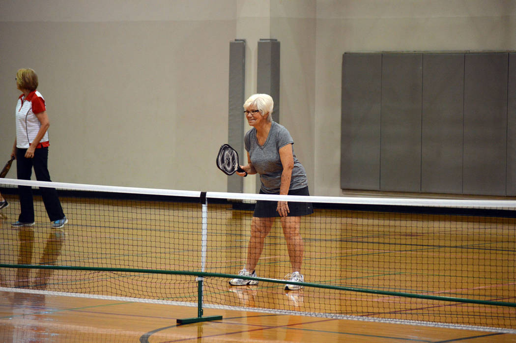 Celia Shortt Goodyear/Boulder City Review Ro Keller prepares to return a serve during the Mix-Up/Fix-Up Pickleball Tournament on March 23.