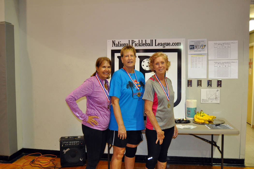 Courtesy Winners from Group A of the Mix-Up/Fix-Up Pickleball Tournament, were, from left, Kathy Herrick in first place with 105 points, Marguerite Bonde in second place with 97 points, and Patti  ...