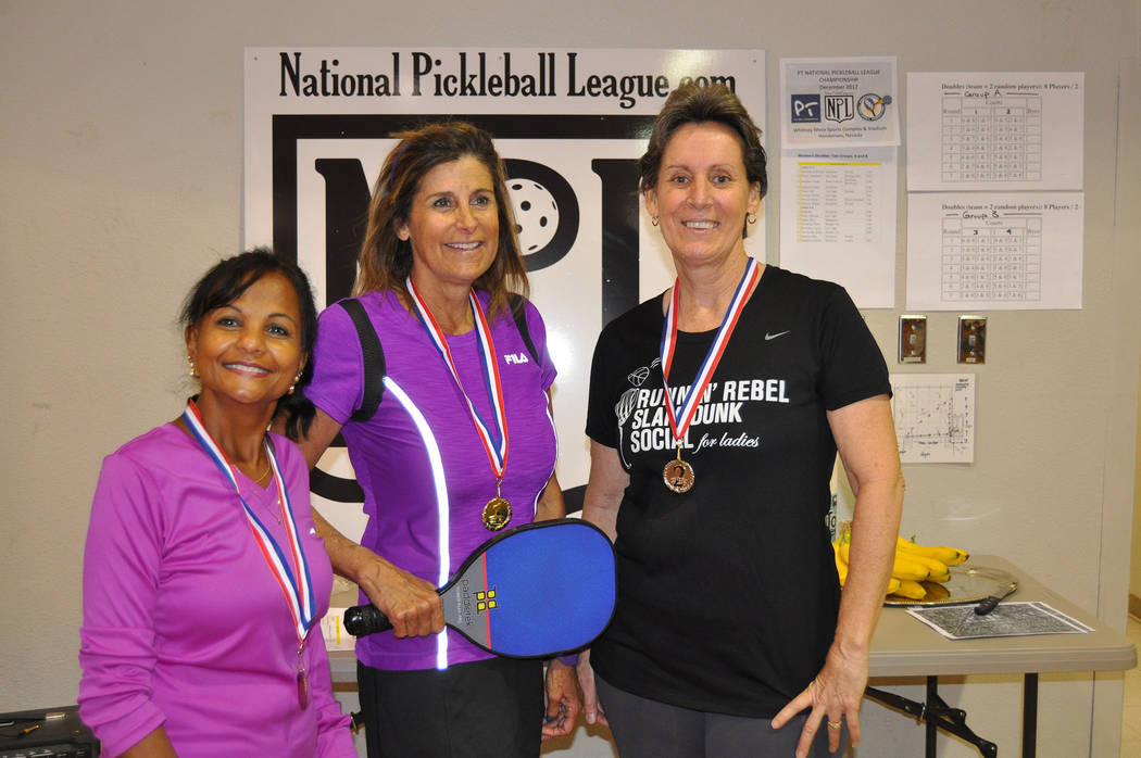 Courtesy Winners of Group B from The Mix-Up/Fix-Up Pickleball Tournament, were, from left, Rani Ragoo in third place with 87 points, Dian Spencer in first place with 105 points, and Simonne Purdy  ...