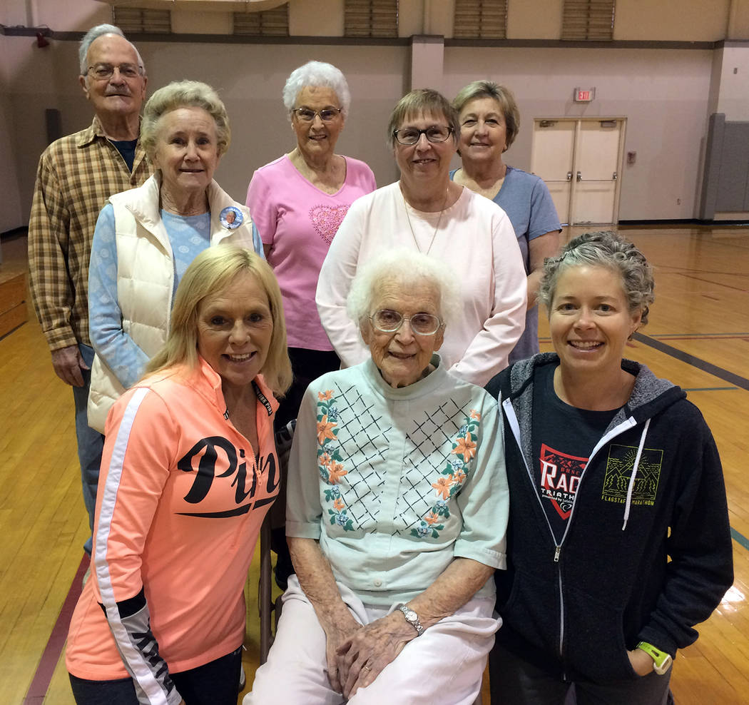 Hali Bernstein Saylor/Boulder City Review Eleanor Beckert, front row center, celebrated her 99th birthday Friday with her Learn to Stretch class at the Boulder City Parks and Recreation Department ...