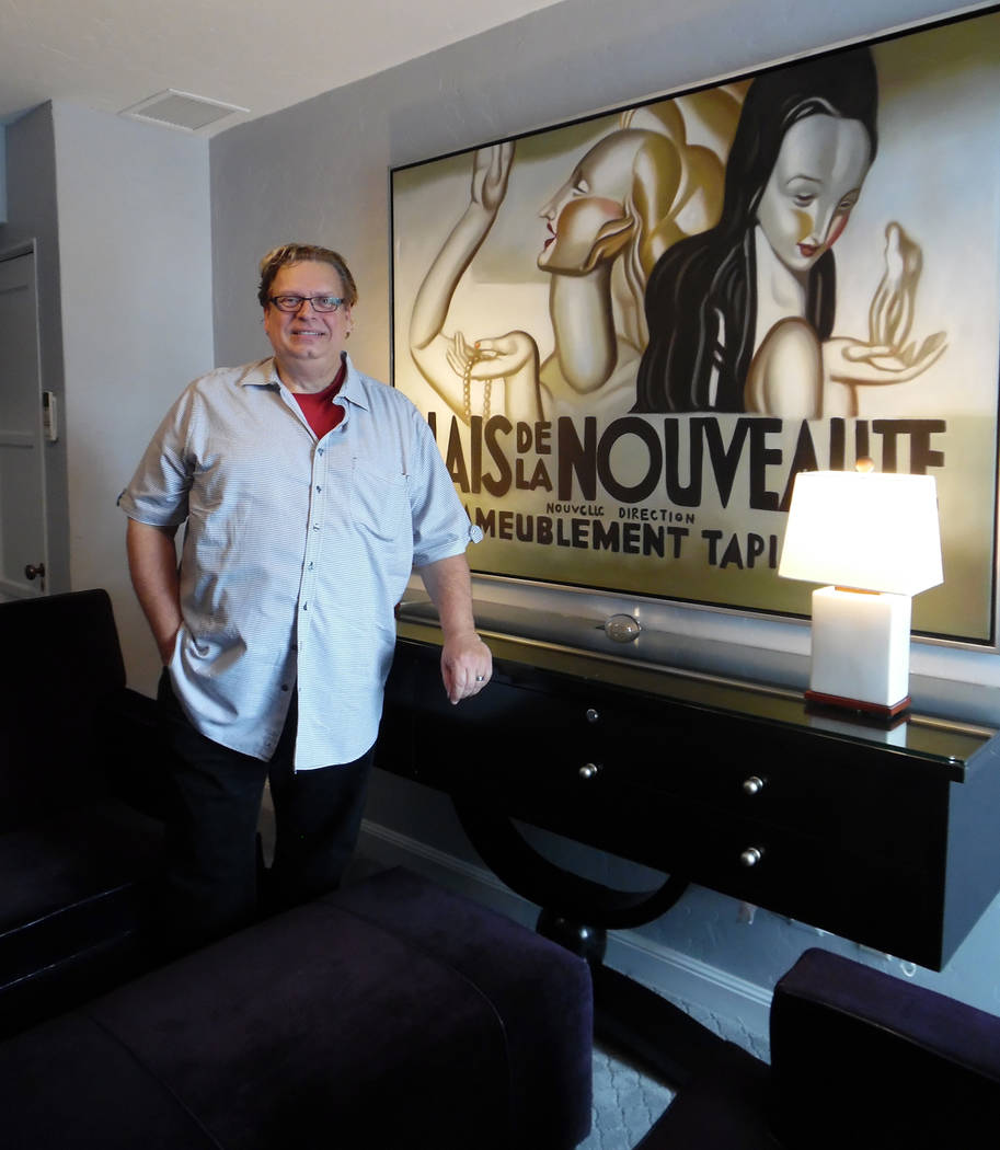 Hali Bernstein Saylor/Boulder City Review Jonathan Bollas paid tribute to Carole Lombard in the art deco-inspired room he designed at the Boulder Dam Hotel as part of its Great Hotel Flip room des ...