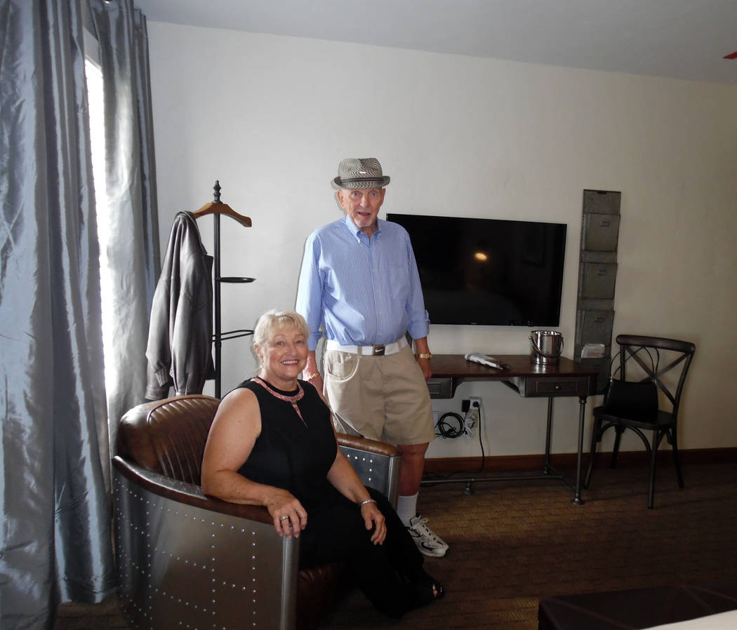 Hali Bernstein Saylor/Boulder City Review Teresa Giroux and David Baker created the winning airplane room at the Boulder Dam Hotel as part of The Great Hotel Flip room design contest. Baker, a ret ...