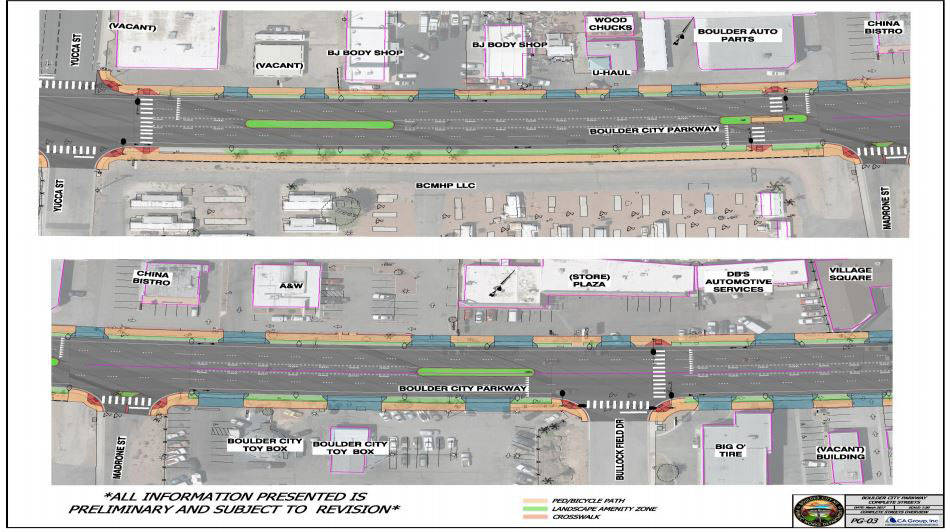 Courtesy This rendering showcases some of the shorter median strips that are part of the city's beautification project along Nevada Highway, which will become Boulder City Parkway.