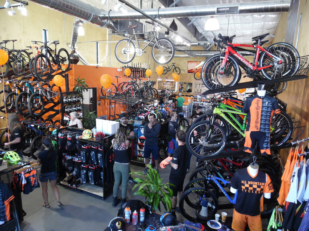 Hali Bernstein Saylor/Boulder City Review All Mountain Cyclery marked the grand opening in its new location, 1601 Nevada Highway, on Saturday.