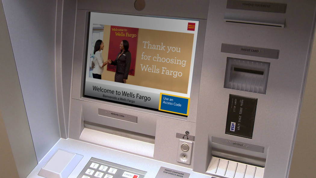 Wells Fargo A new service allows Wells Fargo Bank customers to withdraw money from their accounts without needing an ATM card. An access code is sent to their telephone, which they enter along wit ...