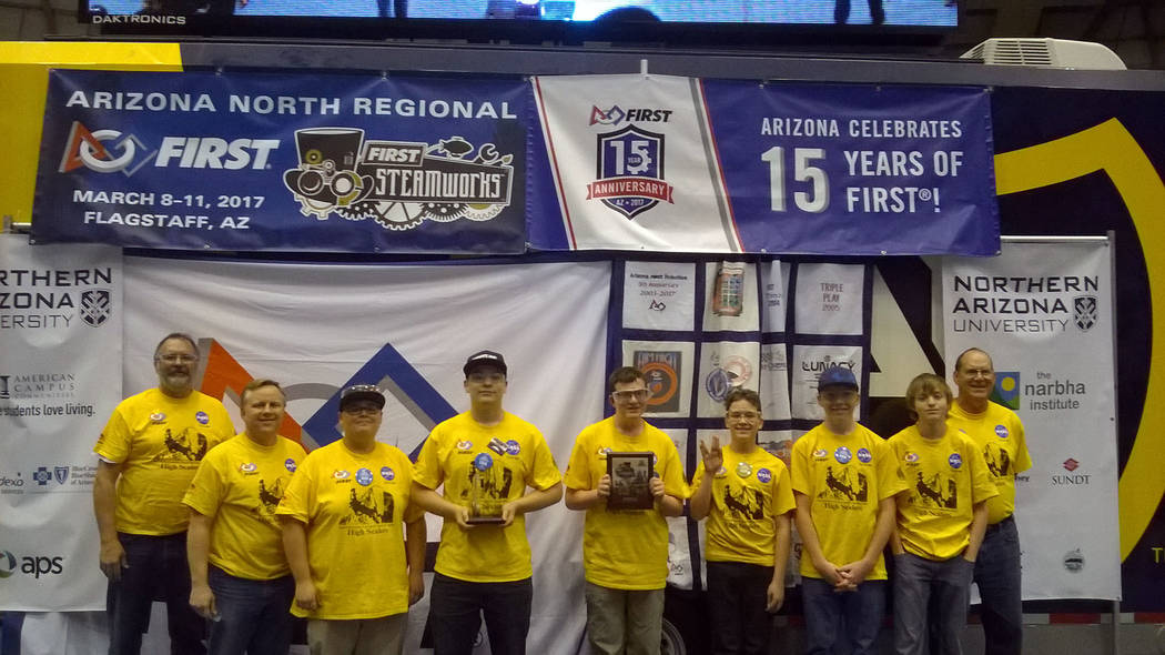 John Richner Boulder City High School's High Scalers robotics team won the creativity award at the 2017 Arizona North Regional First Competition in March. John Richner, engineering mentor, from le ...