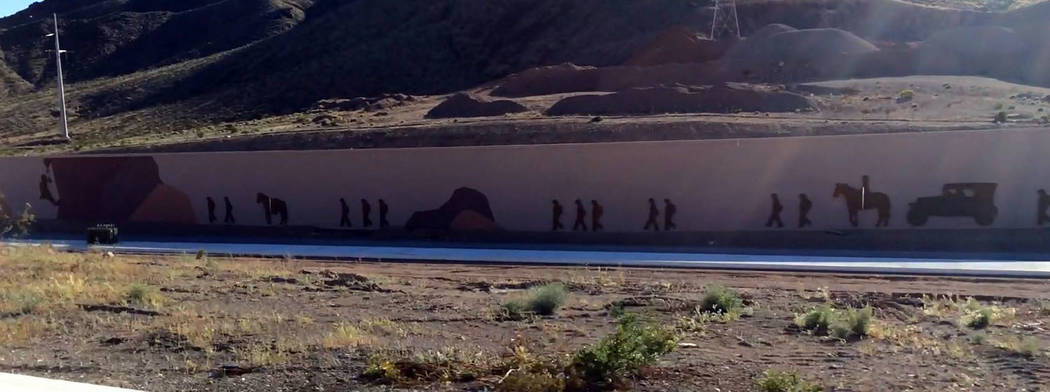 Hali Bernstein Saylor/Boulder City Review The construction of Hoover Dam, including the migration of the 31ers to Southern Nevada, is depicted by artwork on a sound wall of Interstate 11.