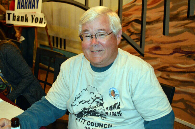 Celia Shortt Goodyear/Boulder City Review City Council candidate Kiernan McManus celebrated the end of the primary campaign with his supporters Tuesday. He advanced to the general election with 17 ...