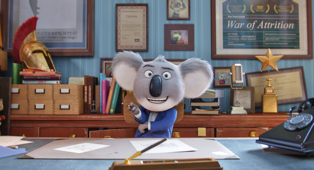 "File In ""Sing,"" a koala named Buster Moon (Matthew McConaughey) works to keep his theater from closing down. The animated film will be shown at 1 p.m. Friday at Boulder City Library, 701 Adams Blvd."