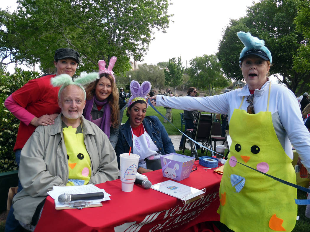 Hali Bernstein Saylor/Boulder City Review Staff from The Homestead at Boulder City, from left, Tanya Vece, Mike Fox, Debra Aspara, Magali Lopez and Edie Sanchez got into the spirit of the Saturday ...