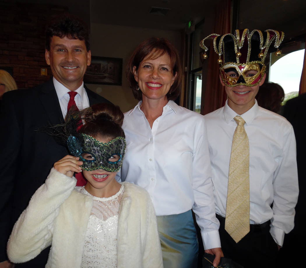 Hali Bernstein Saylor/Boulder City Review The Woodbury family, from left, Mayor Rod Woodbury, Naomi, Leslie and Seth, were among those attending the annual Heart of the Community Gala to benefit B ...