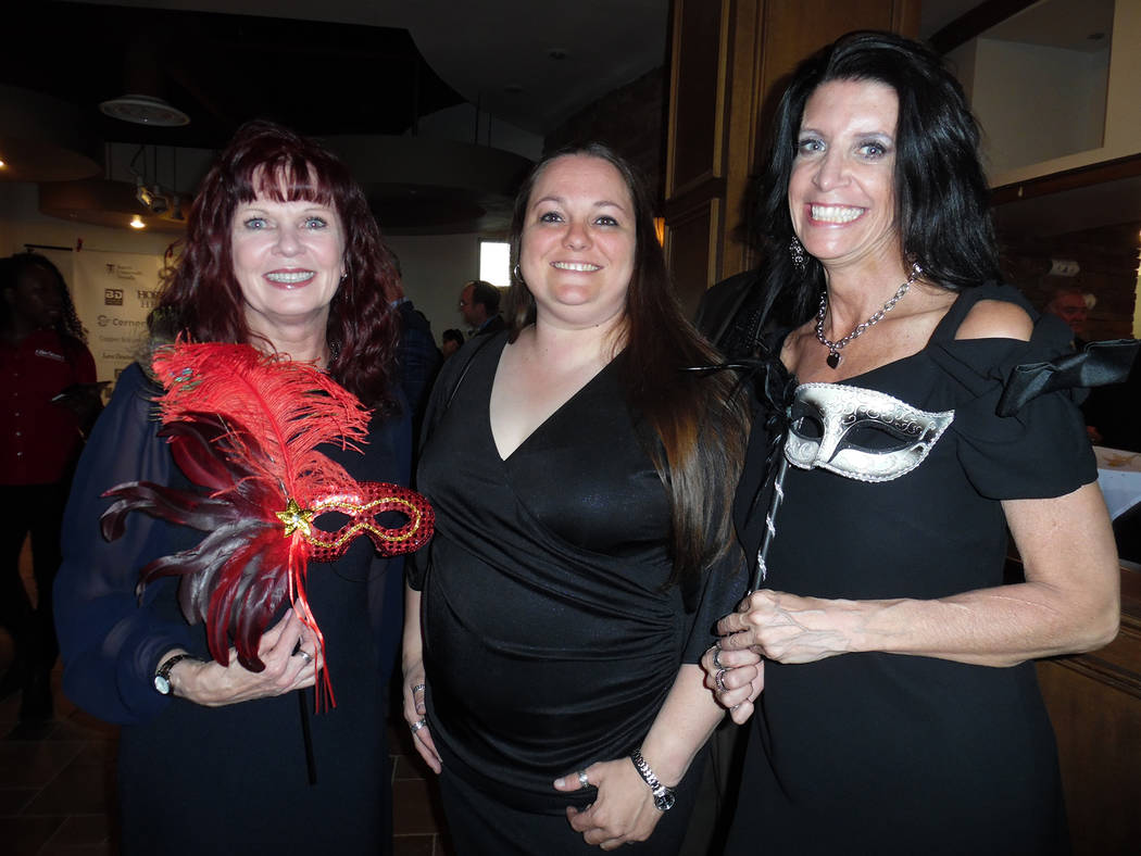 Hali Bernstein Saylor/Boulder City Review Among those attending the annual Heart of the Community gala on Friday at Boulder Creek Golf Club were, from left, Ellise Hayden, Allison Palmer and Fabri ...