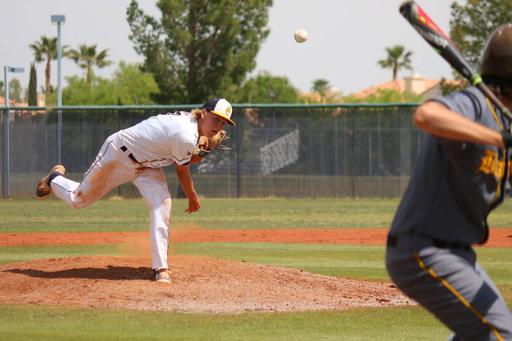Laura Hubel/Boulder City Review Junior Rhett Armstrong pitched the entire game against Bonanza for Boulder City High School's Eagles baseball team Tuesday, settling in during the latter half of th ...