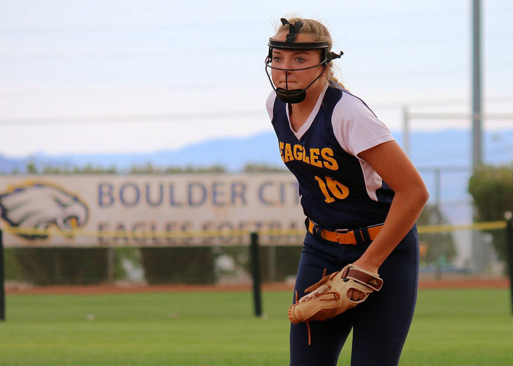 Laura Hubel/Boulder City Review Junior Bailey Bennett-Jordan was all-in on the mound against 4A Sierra Vista on Friday. She struck out nine batters and allowed only four hits during the 1-0 loss.