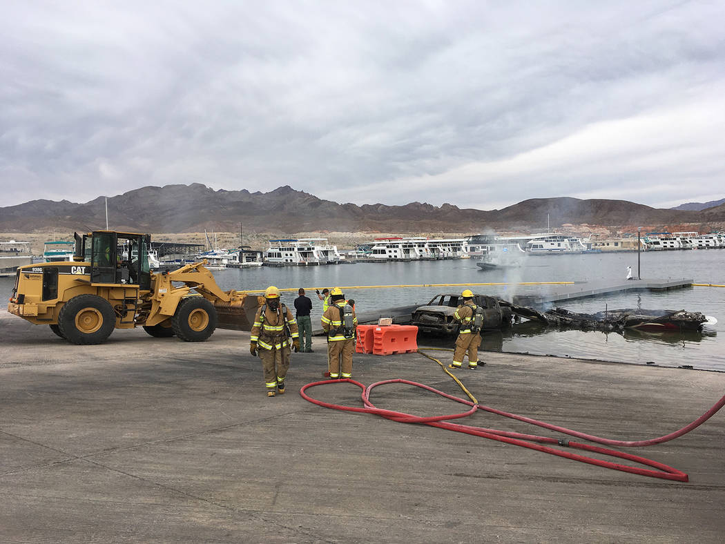National Park Service The courtesy dock adjacent to the launch ramp at Callville Bay at Lake Mead National Recreation Area sustained some damaged after a truck, boat and trailer were destroyed in  ...