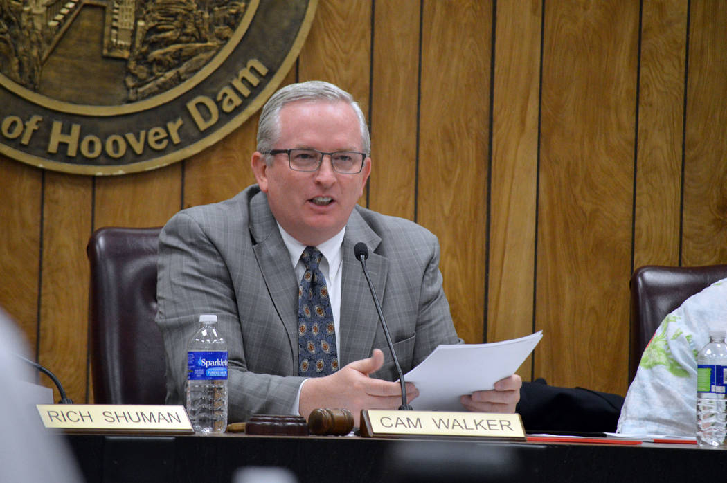 Celia Shortt Goodyear/Boulder City Review Boulder City Mayor Pro Tem Cam Walker leads Tuesday's City Council meeting as Mayor Rod Woodbury was out of town.