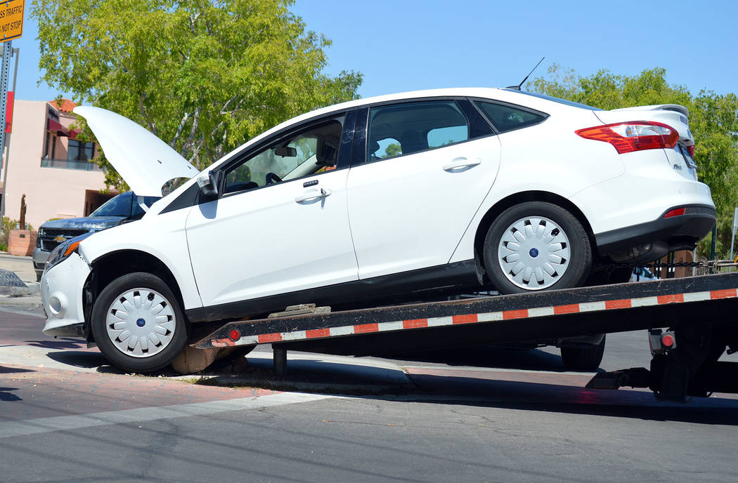 Celia Shortt Goodyear/Boulder City Review An 82-year-old woman hit a concrete bollard at the corner of Arizona Street and Nevada Way on Monday afternoon. The police and fire departments responded, ...