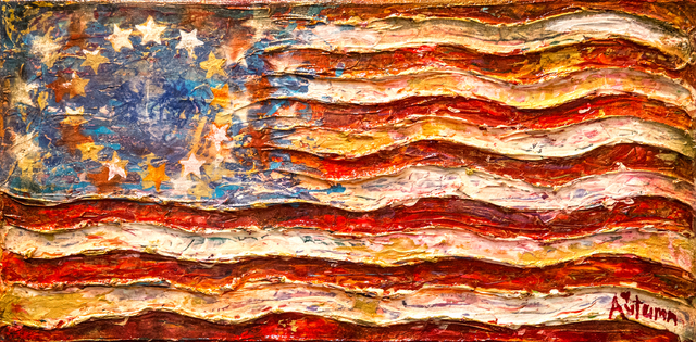 "Benjamin Hager/Las Vegas Review-Journal A painting by Autumn de Forest titled ""Healing Flag"" was displayed in the Gallery of Music & Art  in Las Vegas last November."