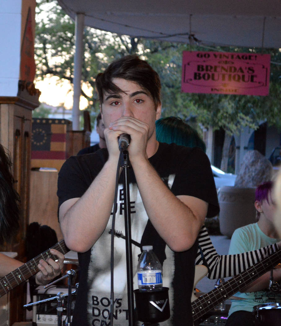 Celia Shortt Goodyear/Boulder City Review Jonny Riordan of The Lesser Evils performs at the pub crawl to raise funds for the Shane Patton Scholarship Foundation on Saturday evening.