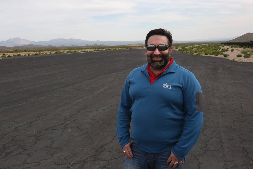 Michael Quine/Las Vegas Review-Journal @Vegas88s Jonathan Daniels, founder of Praxis Aerospace Concepts International, visits the runway of Searchlight airport, where he plans to open a drone test ...