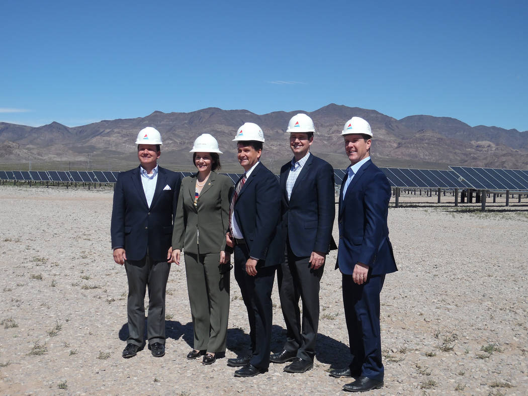 Hali Bernstein Saylor/Boulder City Review Marking the importance of renewable energy in Nevada at Tuesday's dedication of the Boulder Solar I facility were, from left, Bob Schaffeld, senior vice p ...