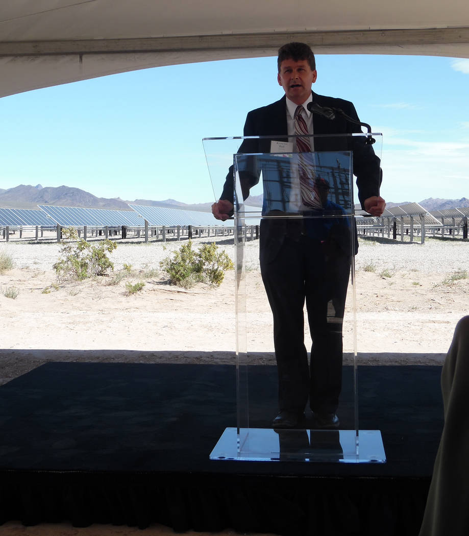 Hali Bernstein Saylor/Boulder City Review Boulder City Mayor Rod Woodbury spoke about the impact the solar industry has on the city during the dedication of the Boulder Solar I facility on Tuesday.