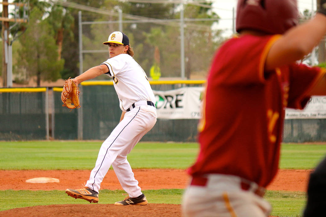 Laura Hubel/Boulder City Review Boulder City High School senior Jake Hubel pitched a three hitter through five innings against Del Sol on Monday, helping the Eagles snap their eight game losing st ...