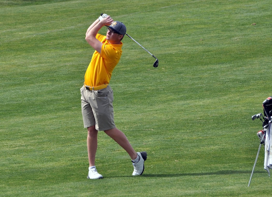 Horace Langford Jr./Pahrump Valley Times Boulder City High School's top golfer, Kyler Atkinson, seen here at the annual Pahrump Valley Invitational in early March, has won first place for four con ...