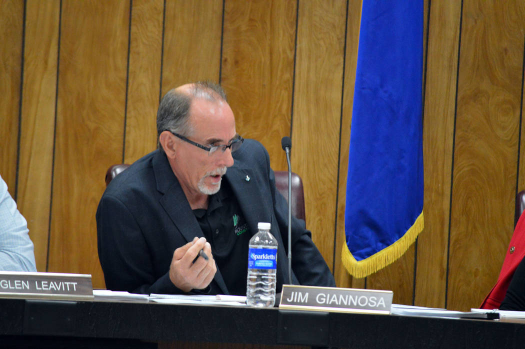 Celia Shortt Goodyear/Boulder City Review Boulder City Planning Commissioner Jim Giannosa asks staff a question about prohibiting marijuana establishments in town during the April 19 meeting.