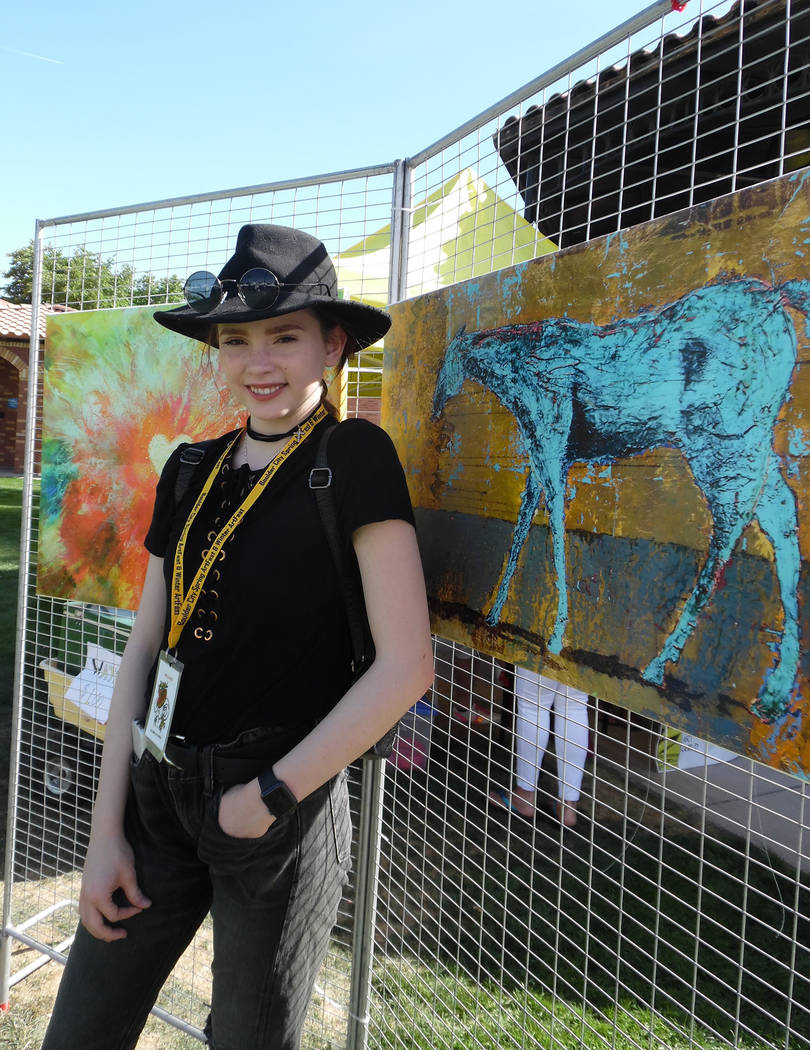 Hali Bernstein Saylor/Boulder City Review Artist Autumn de Forest donated two paintings to help raise funds for the Boulder City Art Guild during its 32nd annual Spring ArtFest on Saturday in Bice ...