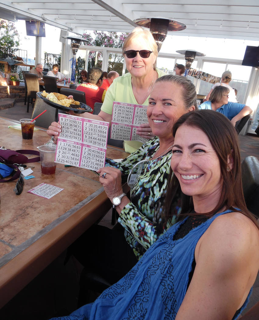 Hali Bernstein Saylor/Boulder City Review Getting reading to play bingo at Saturday's fundraiser for See Spot Run at The Patio at Chilly Jilly'z were, from left, Valerie Chapman, Georgia McClain a ...