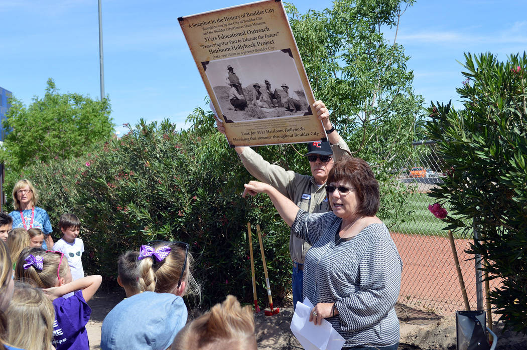 Celia Shortt Goodyear/Boulder City Review Boulder City employees Patty Sullivan and David Duncan talk to students from King and Mitchell elementary schools about the importance of trees at the Arb ...
